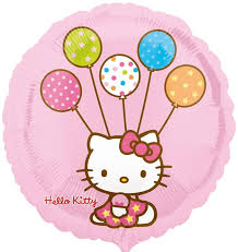 Folienballon Hello Kitty mit Luftballons