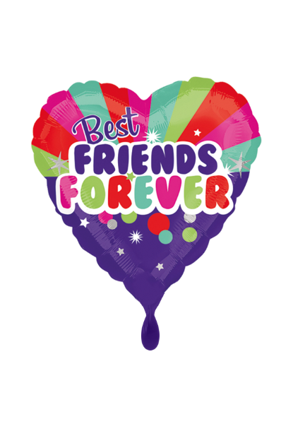 Folienballon Best Friends Forever bunt in Herzform als Geschenkballon