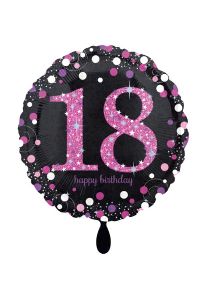 Folienballon Happy Birthday 18 in schwarz pink zur Geburtstagsdekoration