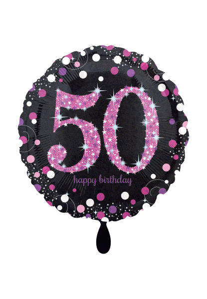Folienballon Happy Birthday 50 schwarz pink zur Geburtagsdekoration
